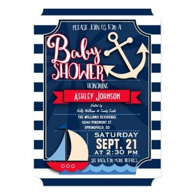 Fun, Navy, Red, & White Nautical Baby Shower Invitation