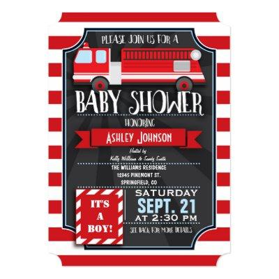 Fun, Red, & White Fire Truck Boy Invitations