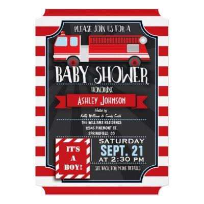 Fun, Red, & White Fire Truck Boy Baby Shower Invitation