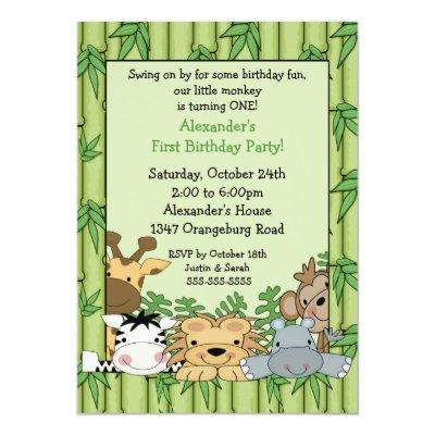 Fun Safari 1st Birthday Invitation