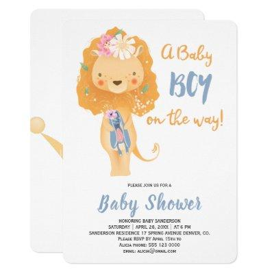 Funny cute little lion floral baby shower party invitation