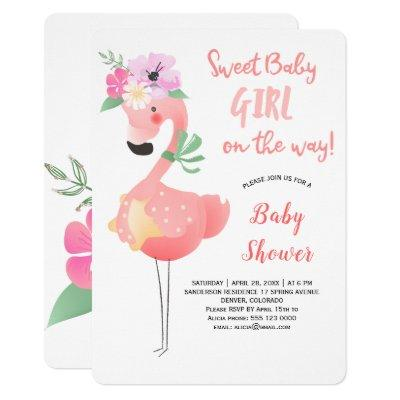 Funny cute pink flamingo floral baby shower party invitation
