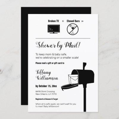 Funny Minimalist Baby Shower By Mail Invitation