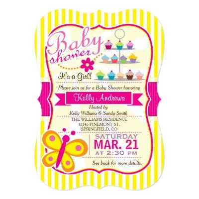 Fuschia Pink and Yellow Butterfly Girl Invitations