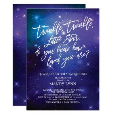 Galaxy Twinkle Twinkle Star Baby Shower Invitation