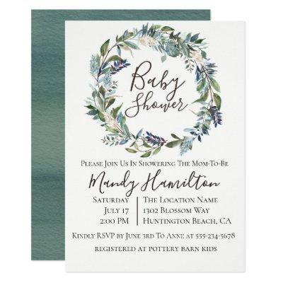 Garden Greenery Wreath Baby Shower Invitations