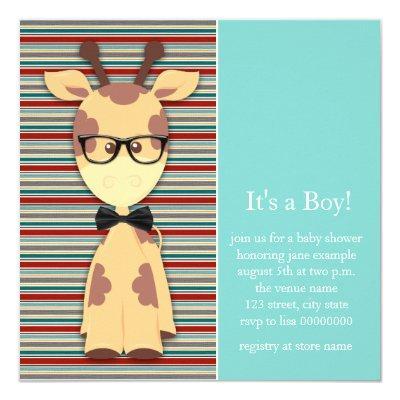 Geek Giraffe Baby Boy Shower Invitations