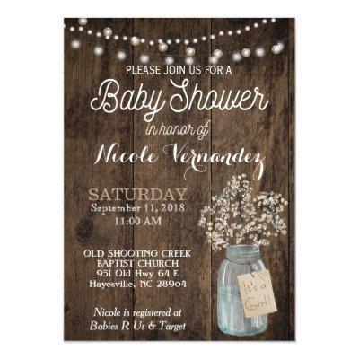 Gender Neutral Baby Breath Baby Shower Invitation