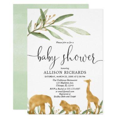 Gender neutral baby shower invitation, gold safari invitation