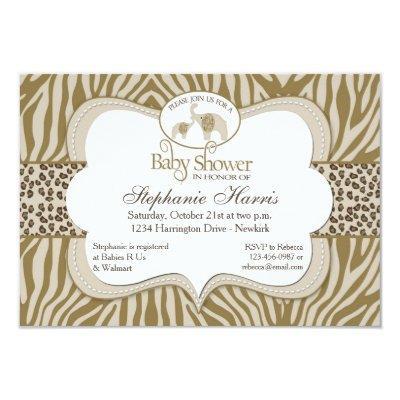 Gender Neutral Baby Shower Leopard & Zebra Pattern Invitation