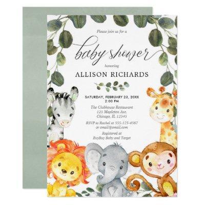 Gender neutral cute animals greenery baby shower invitation