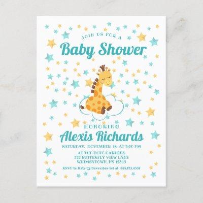 Gender Neutral Cute Giraffe & Stars Baby Shower Invitations Postcard