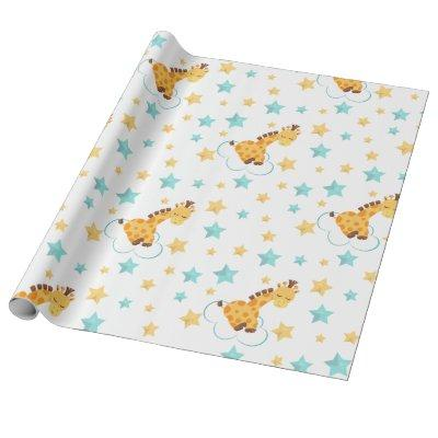 Gender Neutral Cute Giraffe & Stars Baby Shower Wrapping Paper