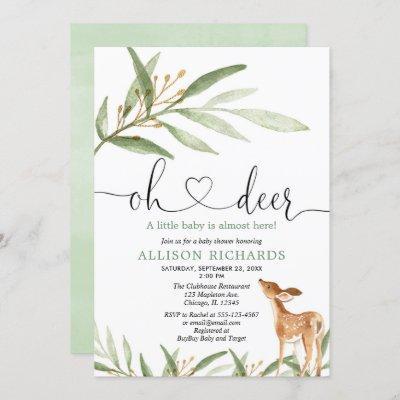 Gender neutral deer woodland greenery baby shower invitation