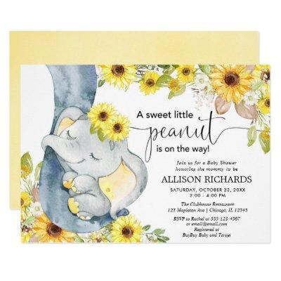 Gender neutral elephant baby shower sunflowers Invitations