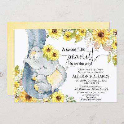 Gender neutral elephant baby shower sunflowers invitation