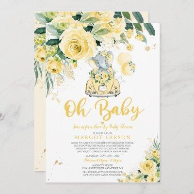 Gender Neutral Elephant Drive By Baby Shower Invitation