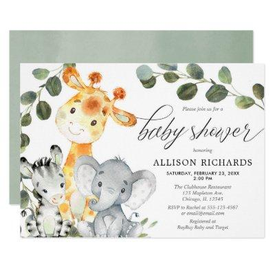 Gender neutral eucalyptus cute safari baby shower invitation