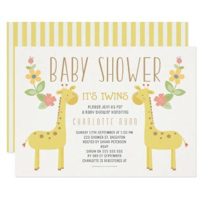 Gender Neutral Giraffes Twins Baby Shower Invite