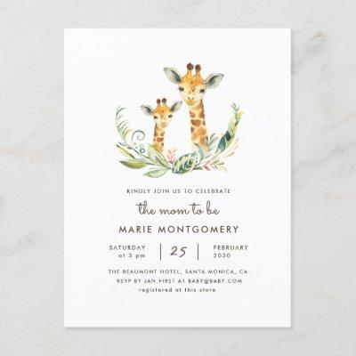 Gender Neutral Mommy & Baby Giraffe Baby Shower Invitation Postcard