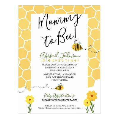 Gender-Neutral Mommy to Bee Watercolor Baby Shower Postcard