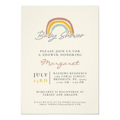 Gender Neutral Rainbow Baby Shower Invitation
