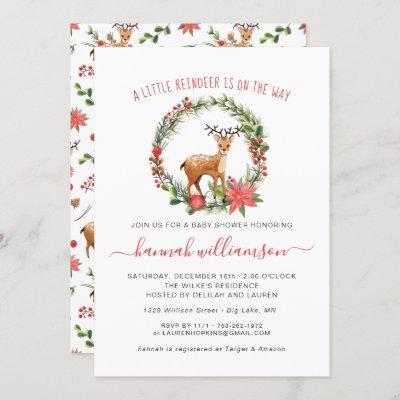 Gender Neutral | Reindeer Christmas Baby Shower Invitation