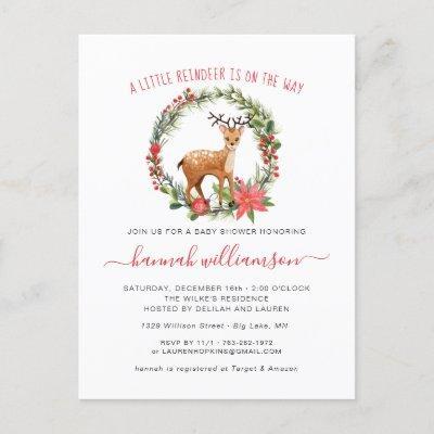 Gender Neutral | Reindeer Christmas Baby Shower Invitation Postcard