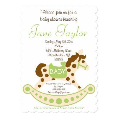 Baby on rocking horse baby shower invitations baby shower invitations gender neutral rocking horse filmwisefo