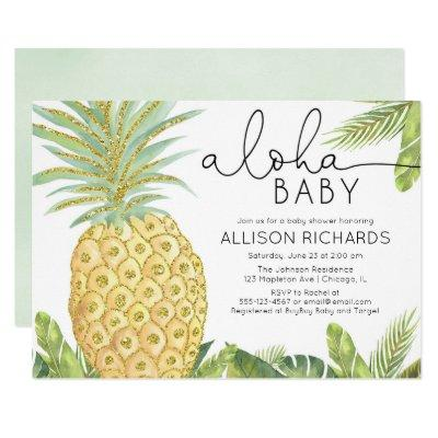 Gender neutral tropical pineapple baby shower invitation