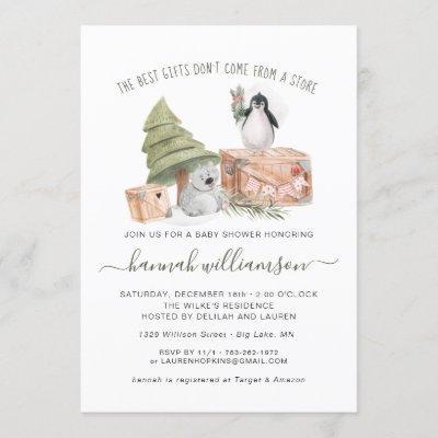 Gender Neutral   Winter Christmas Baby Shower Invitation