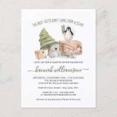Gender Neutral | Winter Christmas Baby Shower Invitation Postcard