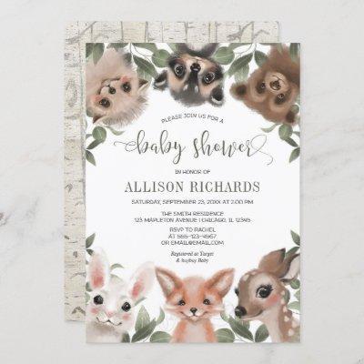 Gender neutral woodland animals forest baby shower invitation