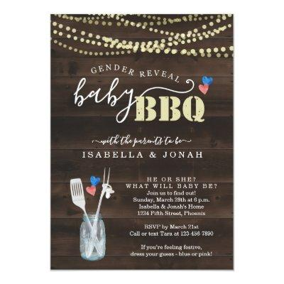 Gender Reveal Baby BBQ Invitations Baby Q Barbeque
