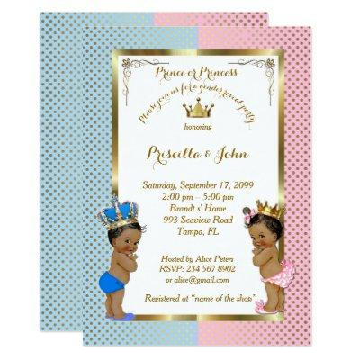 Gender Reveal Baby Shower, blue, pink, gold 2 Invitation