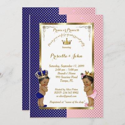 Gender Reveal Baby Shower, blue, pink, gold Invitation
