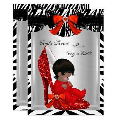 Gender Reveal Baby Shower Zebra Red Baby Shoe Invitation