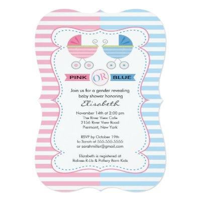 Gender Reveal Carriage Baby Shower Invitation