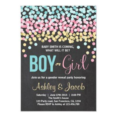 Gender reveal Invitations Baby shower Boy or Girl