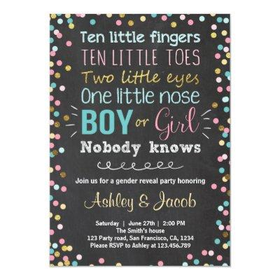 Gender reveal Invitations Boy or Girl