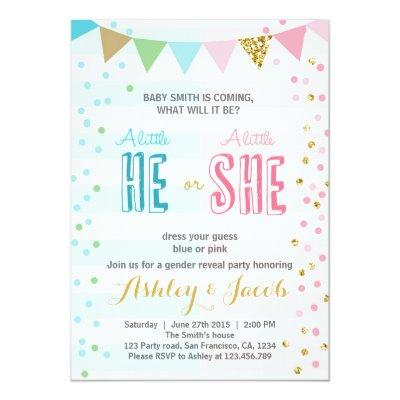 Gender reveal Invitations Baby shower He or She