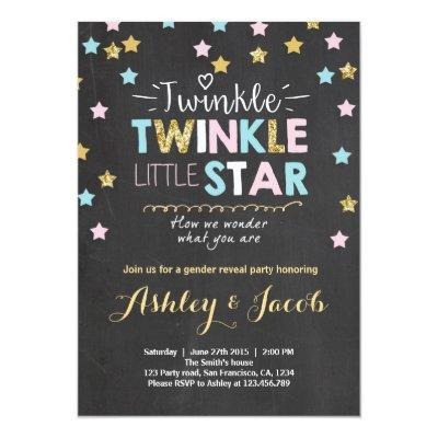 Gender reveal Invitations Baby shower Twinkle Star