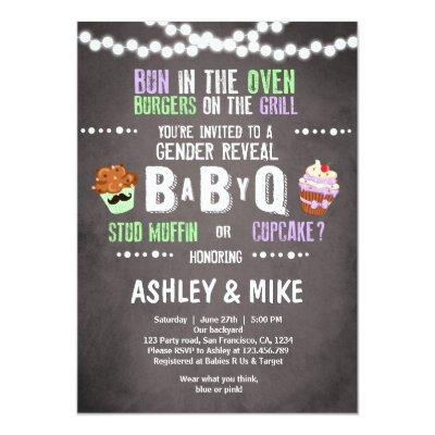 Gender Reveal Invitations BabyQ BBQ Couples Shower