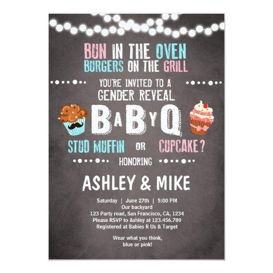Gender Reveal Invitations BabyQ BBQ Couples Shower