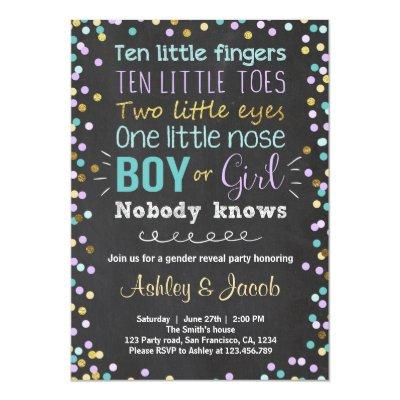 Gender reveal invitation Boy or Girl Purple Teal