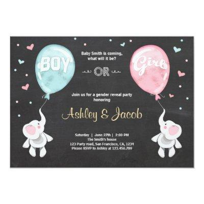 Gender reveal Invitations Elephants Boy or Girl