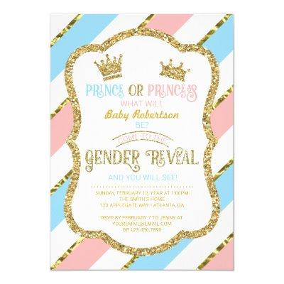 Gender Reveal Invite, Prince, Princess, Faux Gold Invitations