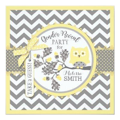 Gender Reveal Owl Chevron Print Baby Shower Party Invitation
