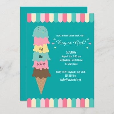 Gender Reveal Party Heres the Scoop Ice Cream Teal Invitation