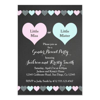 Gender Reveal Party Invitations Hearts